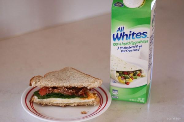 bacon egg spinach tomato sandwich