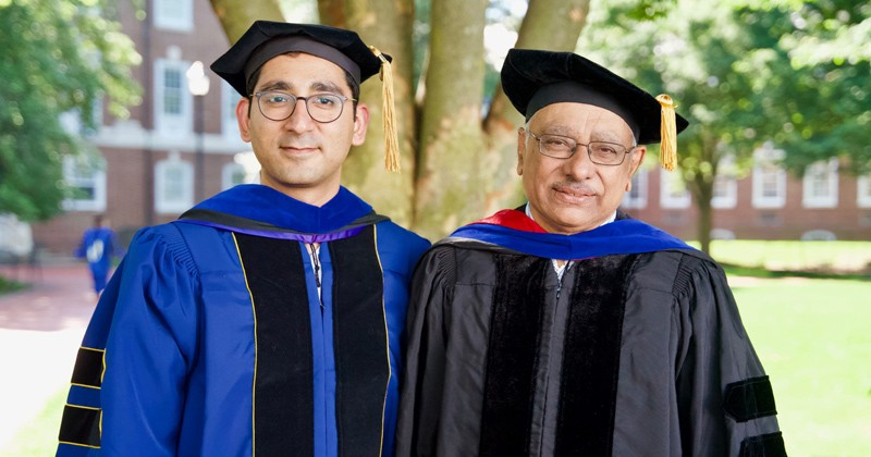 Ayush Dusia (left) earned a computer science doctorate from UD in 2019. During his time at UD, he teamed up with Prof. Adarshpal Sethi (right) to improve mobile ad hoc networks, which are off-grid networks that don't require existing infrastructure, like cell towers, satellites or internet routers.
