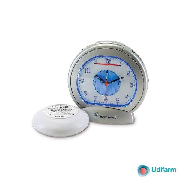 Sveglia analogica con dispositivo esterno a vibrazione modello SONIC BLUE