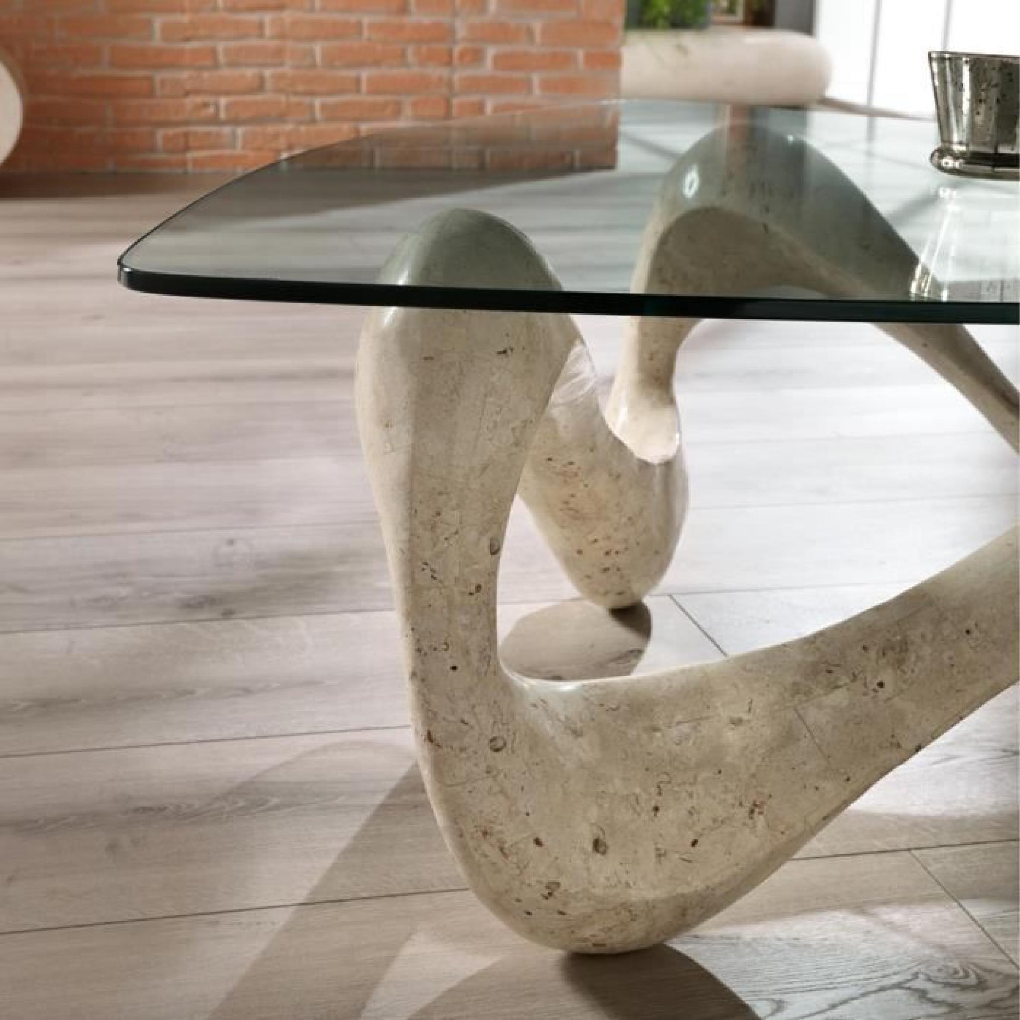 table basse verre imitation pierre