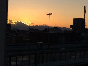 野外ジャグジーから見える富士山