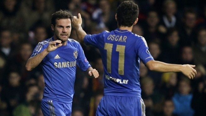 Mata celebrates with Oscar