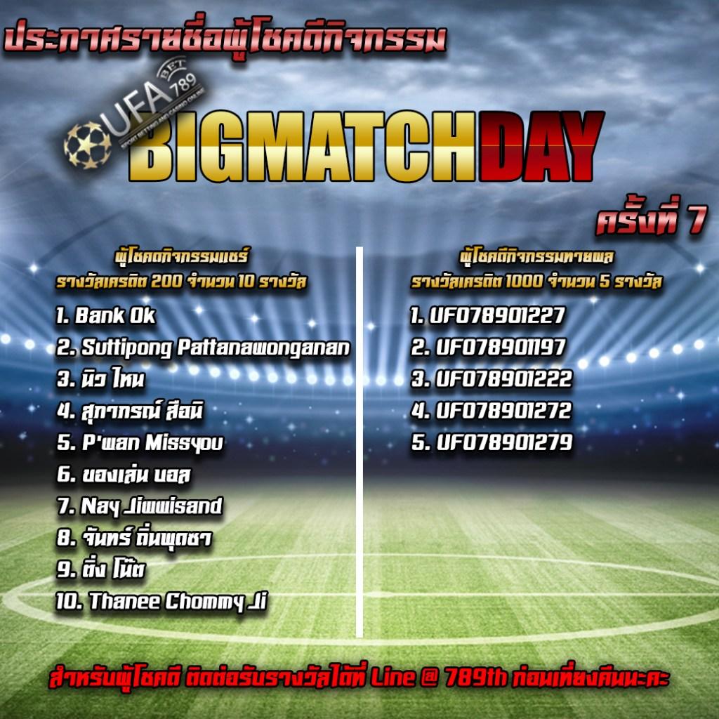 ประกาศรายชื่อผู้โชคดี BIG MATCH DAY Bournemouth Manchester United ครั้งที่ 7