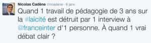 Le tweet de réaction de Nicolas Cadène à l'interview d'Élisabeth Badinter sur France Inter