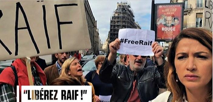 L'UFAL présente pour protester contre la Ligue islamiste mondiale et demander la libération de Raïf Badawi