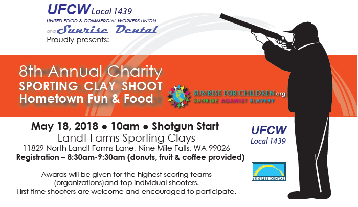 DON'T MISS THE 8th ANNUAL UFCW 1439 AND SUNRISE DENTAL CHARITY SPORTING CLAY SHOOT  May 18, 2018