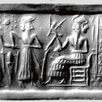 Ur Nammu seated bestows governorship on Ḫašḫamer patesi high priest of Iškun Sin ca. 2100 BC 200x200 Ancient Sumerian Anunnaki Gods From the Sky