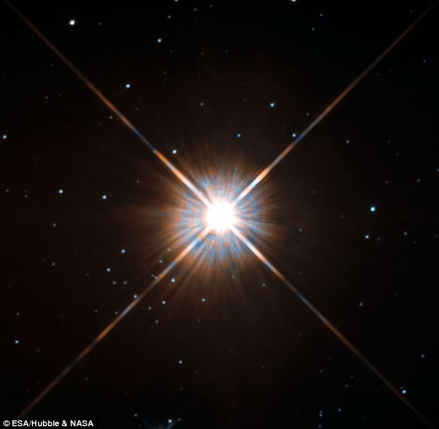 Was this home? Dr Ellis suggests Neanderthals such as homo erectus were crossbred with another species, perhaps from Alpha Centauri. Star Proxima Centauri is pictured in the star system, which is the closest to our solar system some 4.37 light years away from the sun.