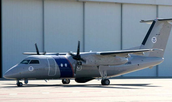 A US Customs and Border Protection Bombardier DHC-8Q200 - Apparently the type of plane that caught the UFO on camera