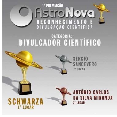 Imagem com nomes dos vencedores na categoria Divulgador Científico
