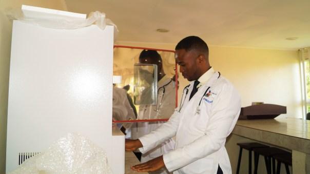 Davis Ampumuza at UCU's new medical school (Uganda Christian University Partners Photo)