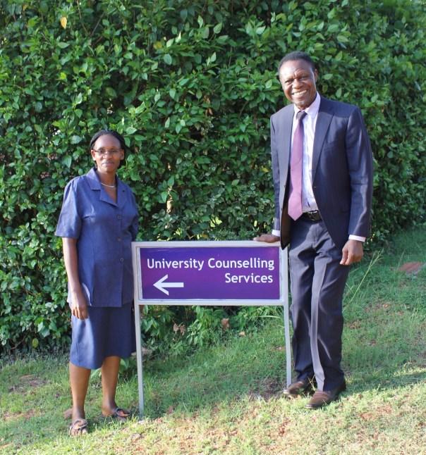 Counselors Irene Ojiambo and Joseph Musaalo at the UCU-Mukono campus (UCU Partners photo)