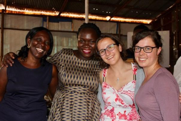Germans Tabea Hofmann and Stephanie Guenter with some women of Dunamai Church in Mukono, Uganda (UCU Partners Photo)