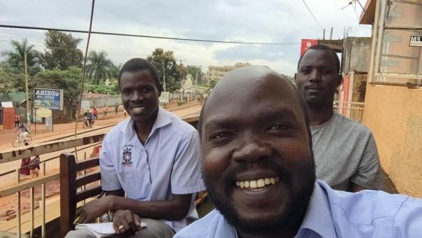 Journalists Paddy Nsobya of Bukedde newspaper, Samuel Sanya of New Vision and John Semakula of The Standard newspaper of Uganda Christian University in an April 20 meeting to strategize for the post COVID-19 period in Mukono District, Uganda. (Courtesy photo from Samuel Sanya)