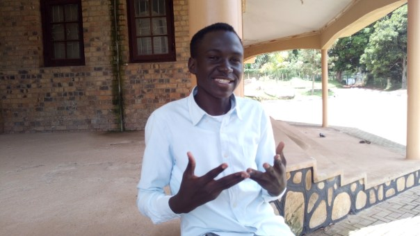 Christopher Mogal Muchwa narrates his story at Sts. Phillip and Andrew's Cathedral in Mukono
