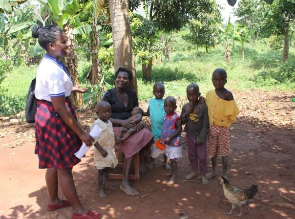 UCU Nursing student Nankya Brenda Diana visits a village family