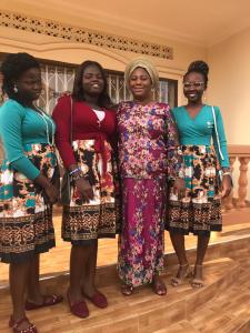 Chizoba with her host mother and sisters