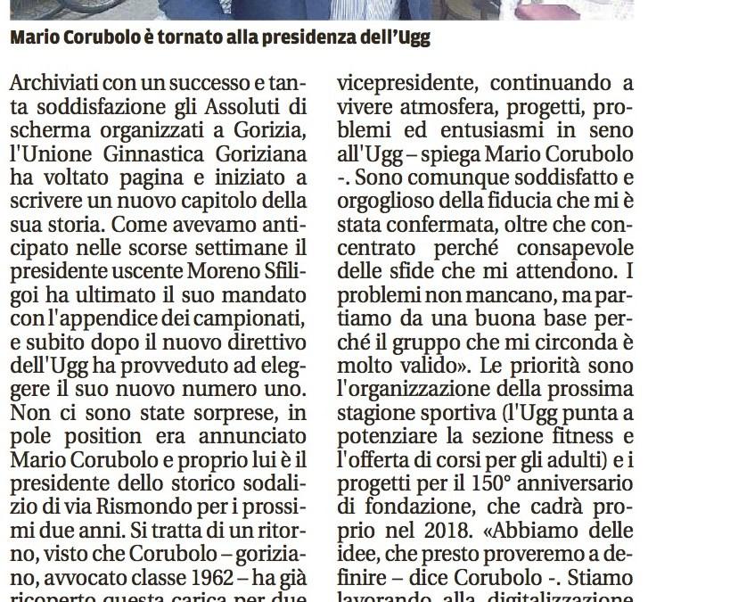 UGG, Mario Corubolo torna alla guida. Il Piccolo 16.06.17