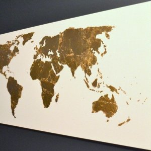 Pinterest Challenge: Gold Leaf Map Art