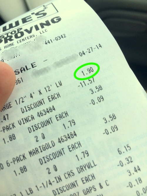 damage discount receipt