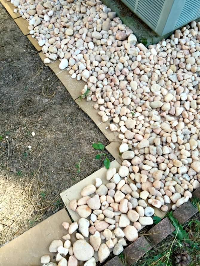 cardboard weed barrier and egg rock
