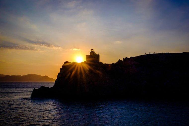 Ios lighthouse at sunset