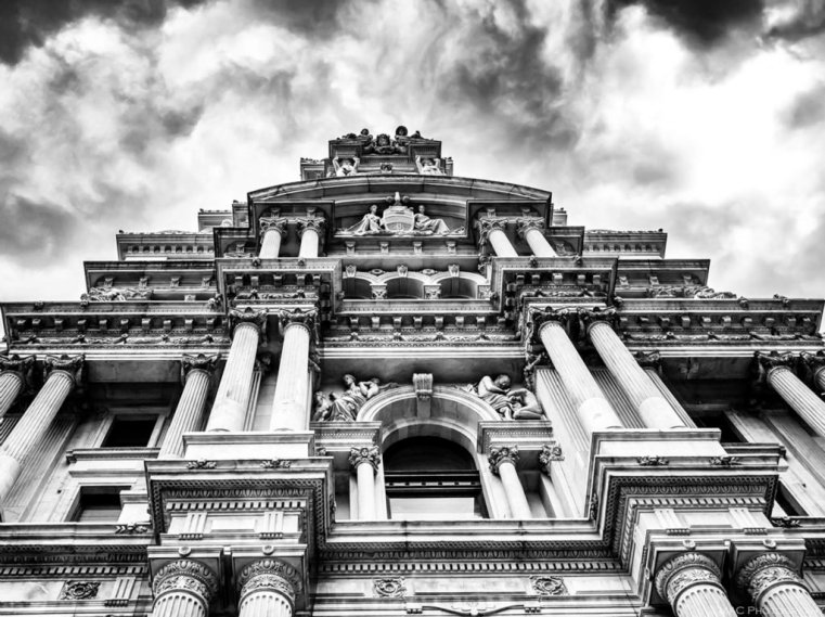 """Seat of Power"" – looking up at the main edifice of City Hall."