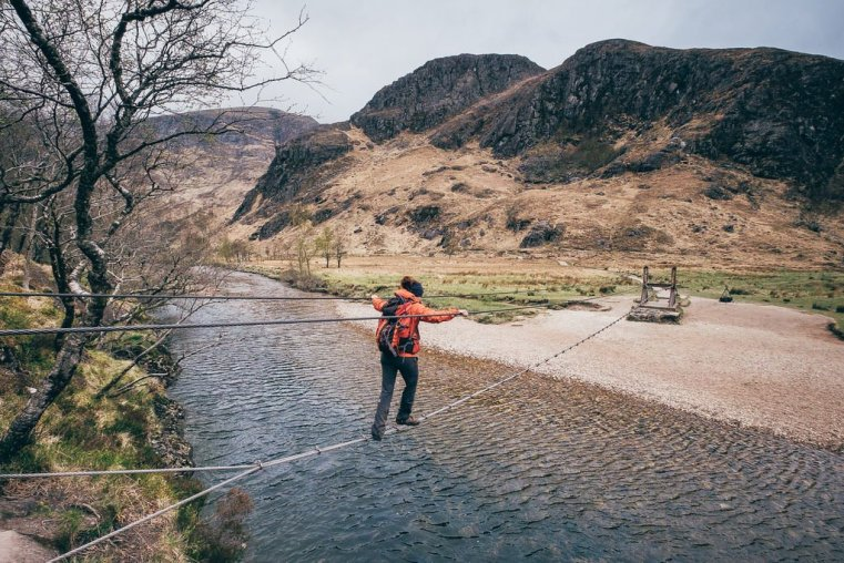 Tibetan bridge to Steall Meadows