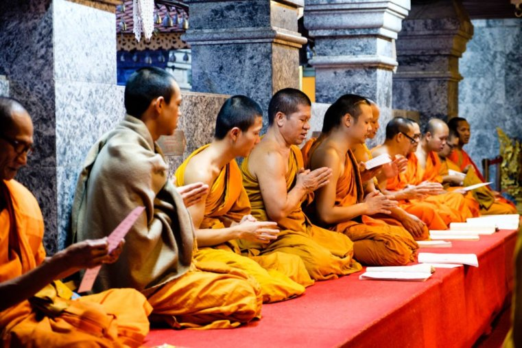 Monks at Wat Phra That Doi Suthep, Chiang Mai, Thailand