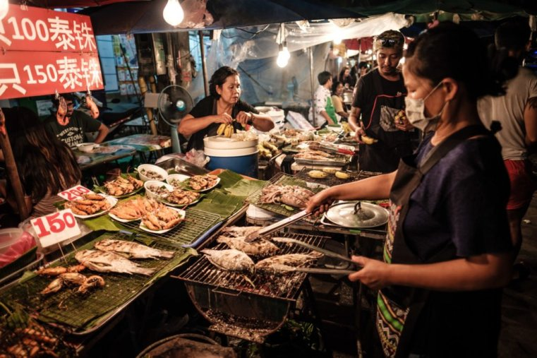 At the Saturday night market in Chiang Mai, Thailand