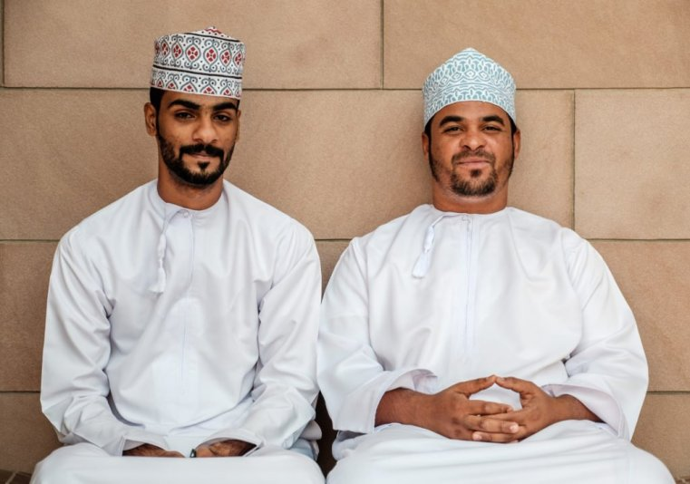 Two Omani Man at the Grand Mosque, Muscat, Oman