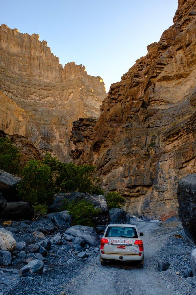 Driving along Wadi Nakhr, Oman