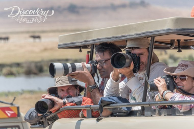 Shooting wildlife from a jeep, Tanzania