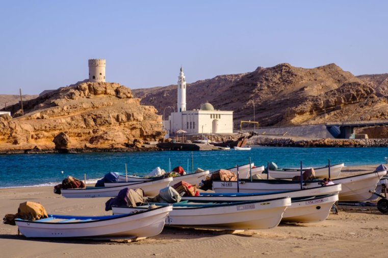 Boats on the beach in Sur, Oman