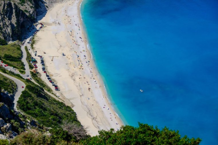 The amazing beach of Myrtos from the high cliffs around it