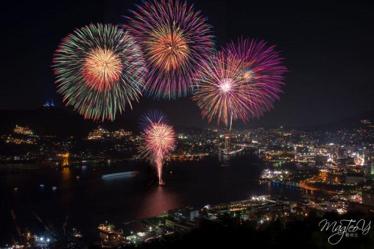 Fireworks over Nagasaki bay