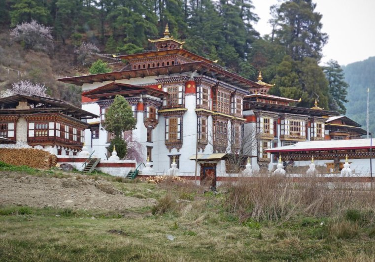 Approaching Kurjey triple temple, Chokhor near Jakar, Bhutan