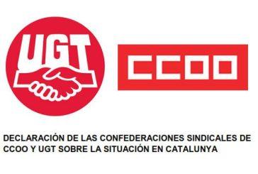 Declaración de las Confederaciones Sindicales de UGT y CCOO sobre la situación en Catalunya