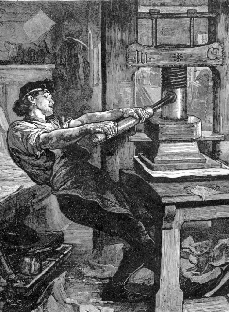 The printing press invented by johannes gutenberg