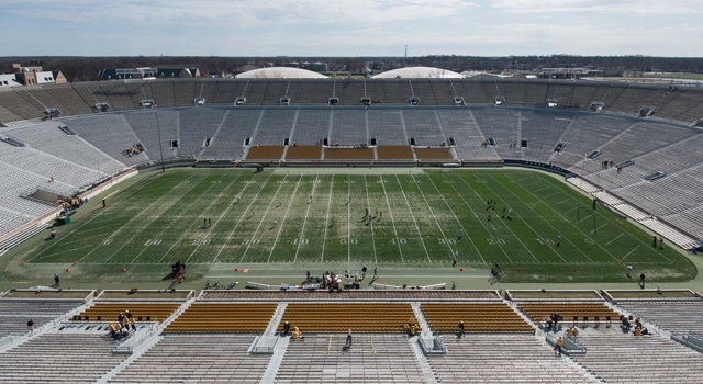 A general view of Notre Dame Stadium before the Blue-Gold Game. Mandatory Credit: Matt Cashore-USA TODAY Sports