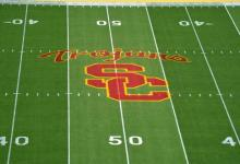 Oct 8, 2015; Los Angeles, CA, USA; General view of the Southern California Trojans logo midfield before the NCAA football game against the Washington Huskies at Los Angeles Memorial Coliseum. Mandatory Credit: Kirby Lee-USA TODAY Sports