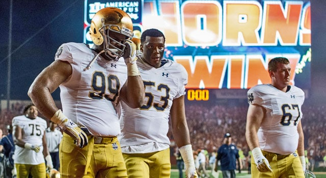 Despite some missed tackles, Jerry Tillery graded out quite well for Notre Dame. (Photo: Matt Cashore-USA TODAY Sports)