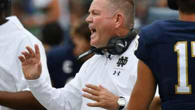 Notre Dame HC Brian Kelly during the Ball State game. (