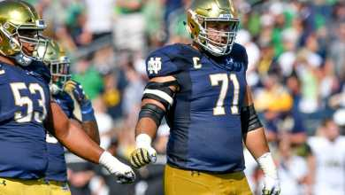 Notre Dame OG and captain Alex Bars (71) has been lost for the year.