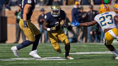 Dexter Williams and the Notre Dame running game were bottled up vs. Pitt.