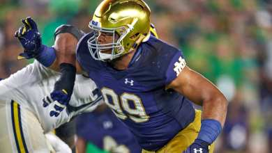 Notre Dame NT Jerry Tillery in action vs. Michigan