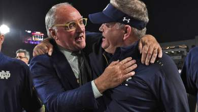 Notre Dame HC Brian Kelly and AD Jack Swarbrick celebrate their 2nd perfect regular season at Notre Dame