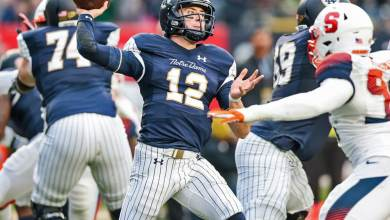 Notre Dame QB Ian Book in action vs. Syracuse in Yankee Stadium