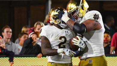 Notre Dame RB Dexter Williams celebrates a TD versus USC