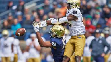 Notre Dame CB Temitope Agoro in action in the 2019 Blue Gold Game